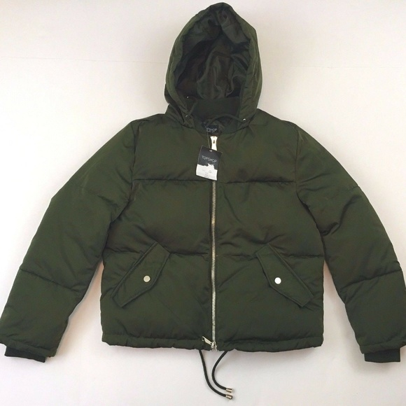 official shop lower price with fast delivery Topshop Green Bomber Hooded Puffer Jacket NWT